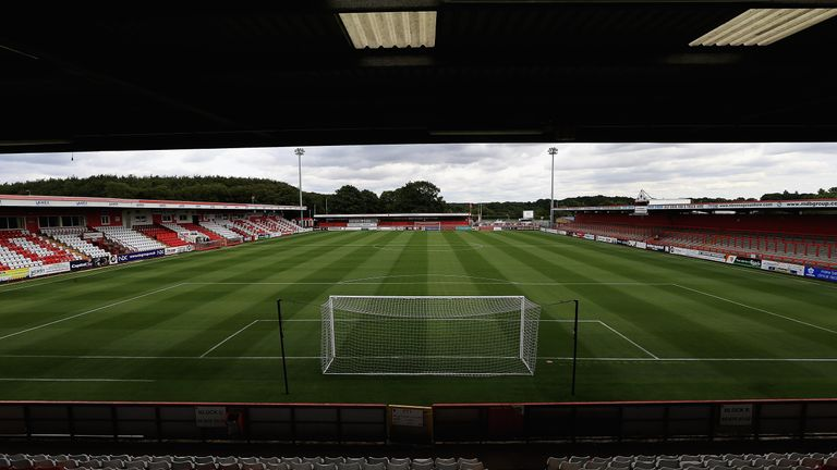 A general view of the Lamex Stadium at Stevenage