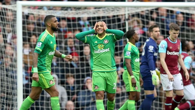 Sunderland's Wahbi Khazri looks dejected after a missed chance