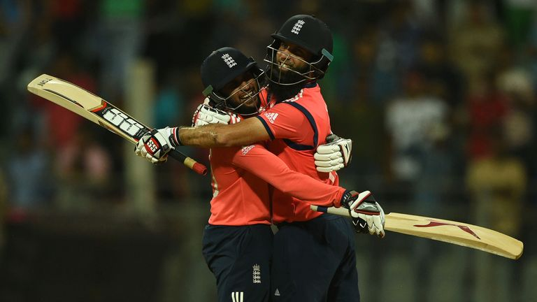 Adil Rashid and Moeen Ali celebrate England's moment of triumph over South Africa