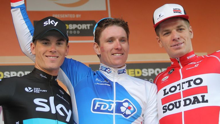 From left, Ben Swift, Arnaud Demare and Jurgen Roelandts on the podium
