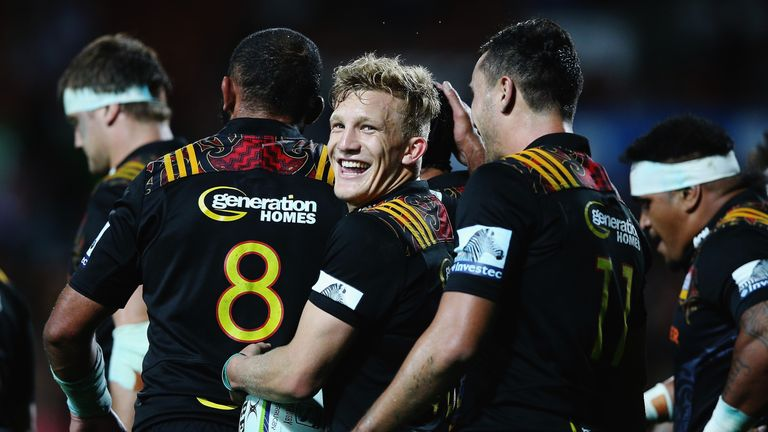 Damian McKenzie of the Chiefs scored twice against the Force