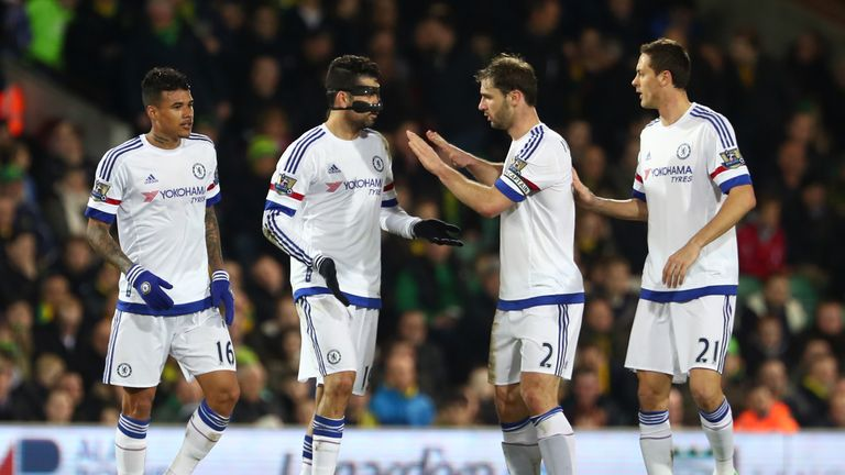 Diego Costa (second left) celebrates with team-mates after doubling Chelsea's lead against Norwich