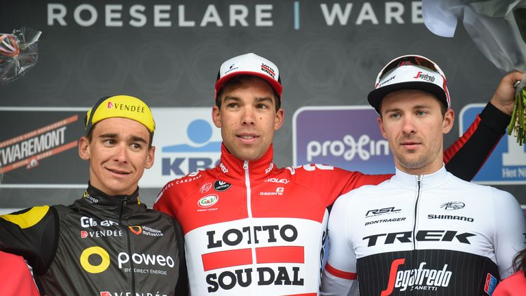 Second-placed Bryan Coquard (left), winner Debusschere (centre) and third-placed Edward Theuns