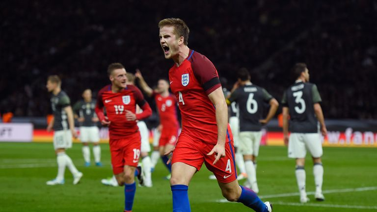 Eric Dier celebrates scoring England's winning goal against Germany