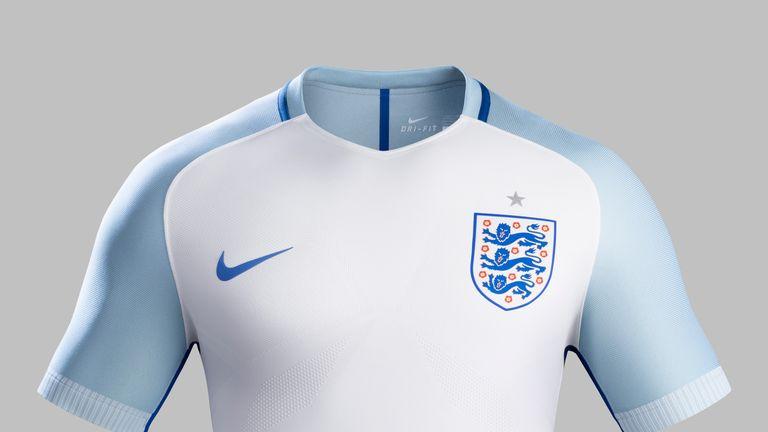 England's new home shirt features light blue shoulder panels