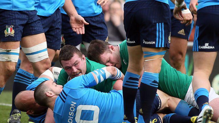 Jack McGrath looks up after scoring for Ireland