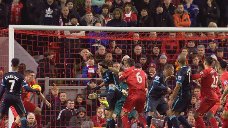 Did James Milner handle Aguero's header off the line?
