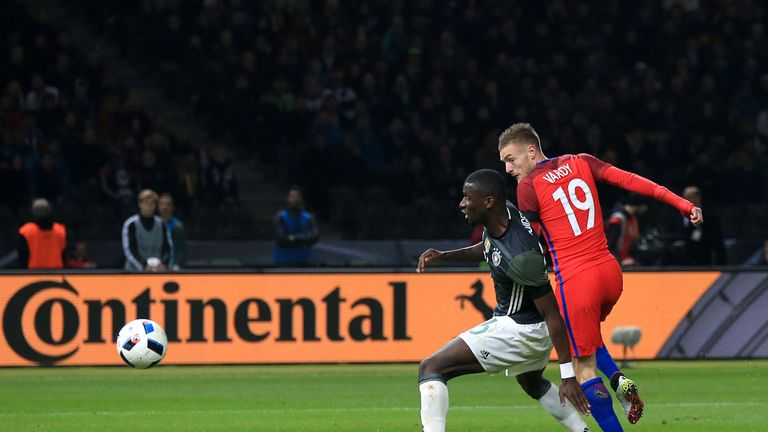 Jamie Vardy (right) scored his first goal for England in the win over Germany