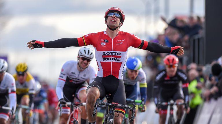 Belgian cyclist Jens Debusschere of Lotto Soudal won the Dwars Door Vlaanderen race