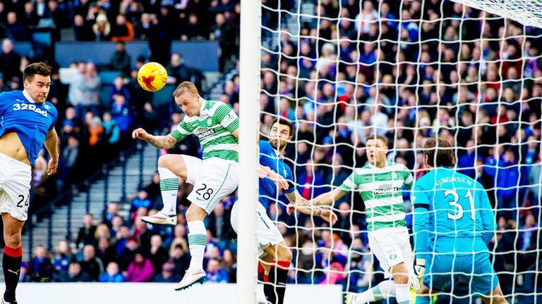 Celtic striker Leigh Griffiths scores against Rangers in last season's League Cup semi-final