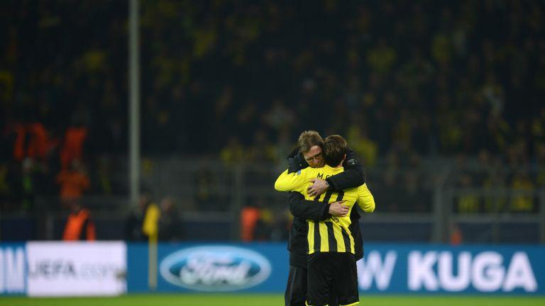 Jurgen Klopp, pictured hugging Gotze after a Borussia Dortmund match, is a huge admirer of the midfielder