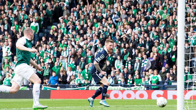 Michael Gardyne scores the opening goal in Ross County's 2-1 victory over Hibernian