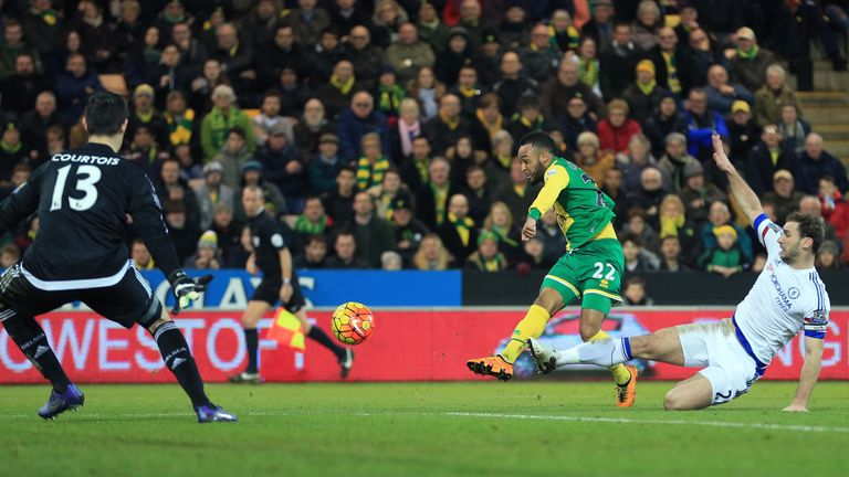 Nathan Redmond pulls a goal back for Norwich against Chelsea