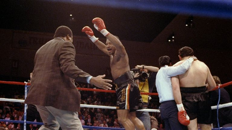 Ray Mercer celebrates stopping Francesco Damiani
