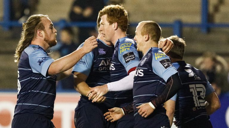 Cardiff Blues' Rhys Patchell (middle) scored 19 points