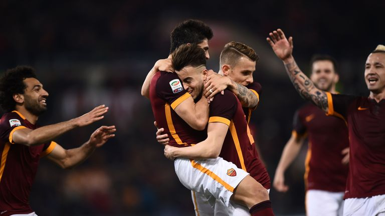 Roma celebrate Diego Perotti's goal