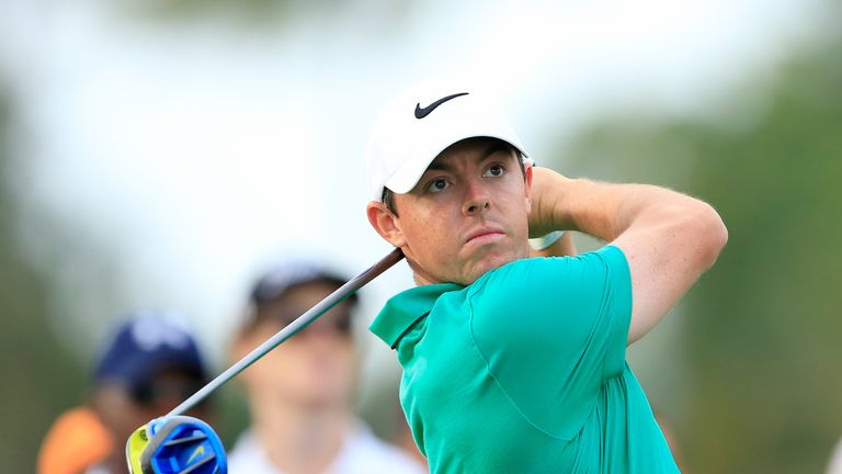Rory McIlroy tees off on the 17th hole in the WGC-Cadillac Championship at Doral