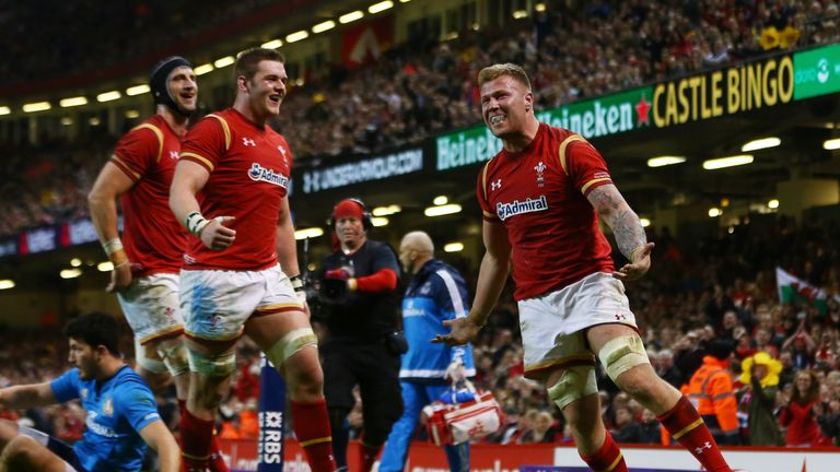 Ross Moriarty (right) celebrates after scoring his team's seventh try