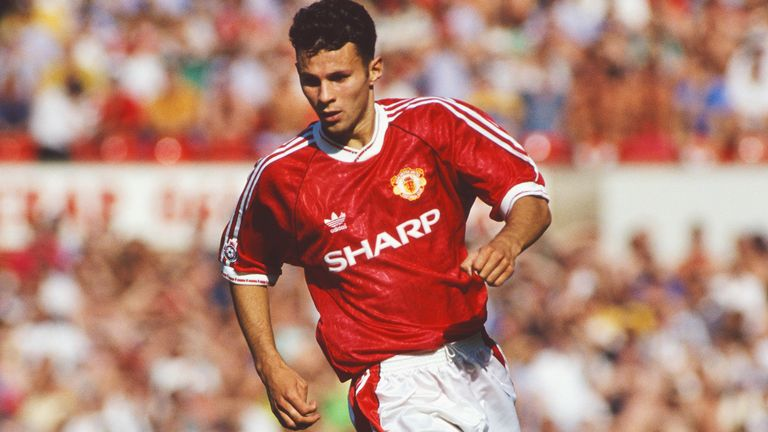 Giggs marked his full league debut with a goal against Manchester rivals City