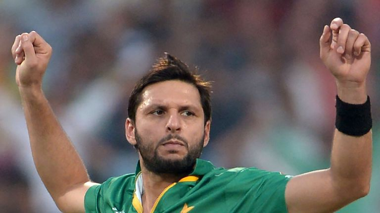 Afridi celebrates his side's only victory, against Bangladesh