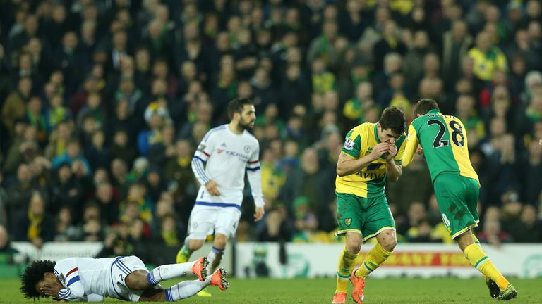 Norwich City's Gary O'Neil (right) and Robbie Brady clashed during Tuesday's match with Chelsea