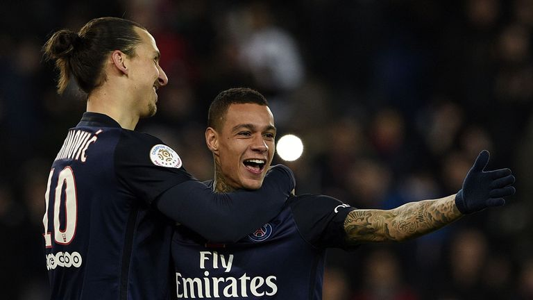 Gregory van der Wiel (right) is set to follow Zlatan Ibrahimovic (left) by exiting PSG