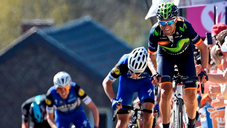 Valverde pulled away from Julian Alaphilippe (second from right) and Dan Martin (second from left)