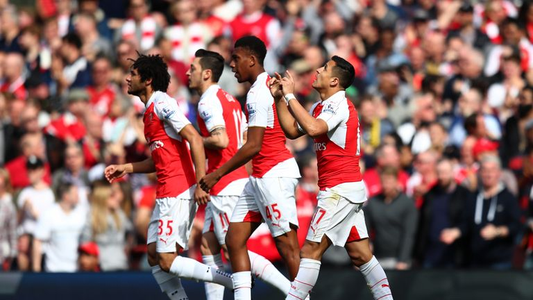 Sanchez celebrates his first-half strike