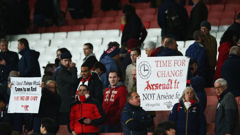 There were a number of empty seats at the Emirates and some Arsenal fans held up banners asking for change