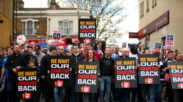 Charlton fans protest outside the ground