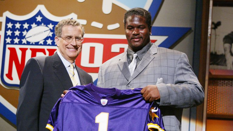 Bryant McKinnie (right) was selected by Minnesota Vikings after they missed their original pick in the 2002 Draft