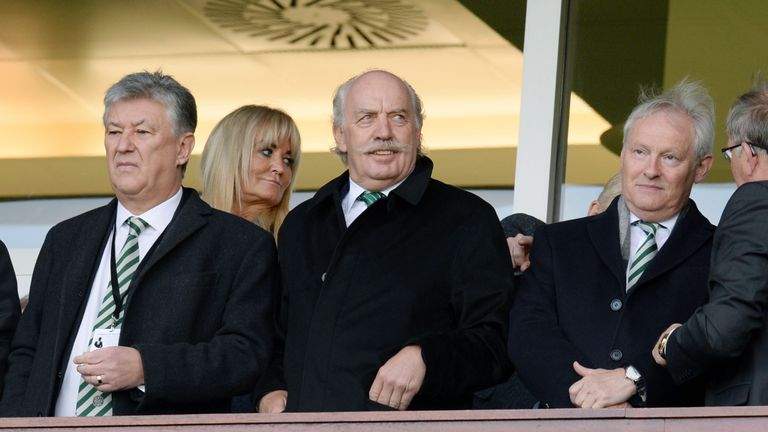 Celtic owner Dermot Desmond (middle) with chairman Ian Bankier (right) and chief executive Peter Lawwell at Hampden