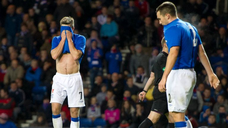 Andrew Little (left) and Chris Hegarty hang their heads as Inverness CT go 3-0 in front in League Cup