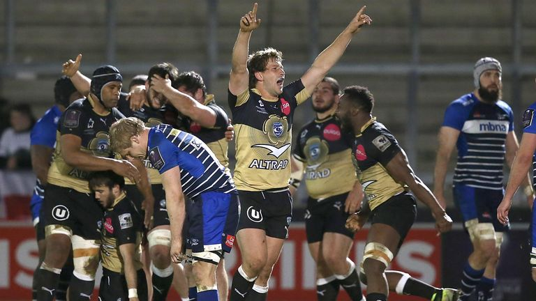 Frans Steyn celebrates Montpellier's victory