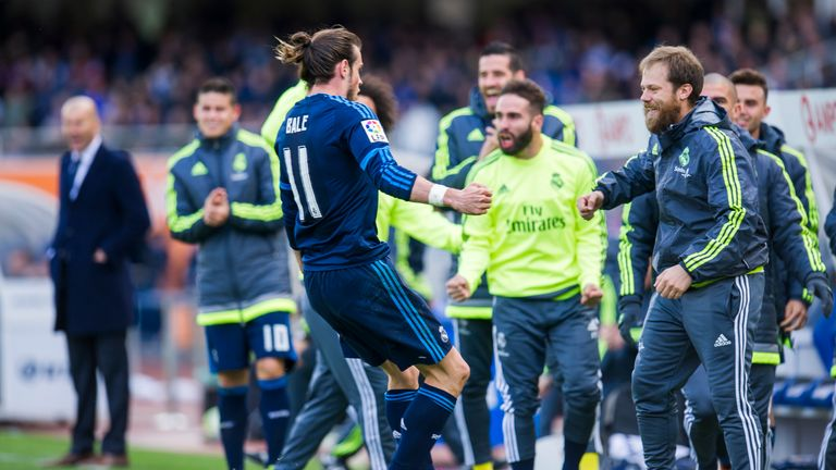 Gareth Bale went to celebrate his 21st goal of the season with his Real Madrid  team-mates