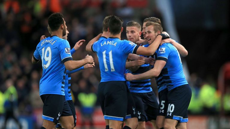 Harry Kane celebrates after his opening goal at the Britannia
