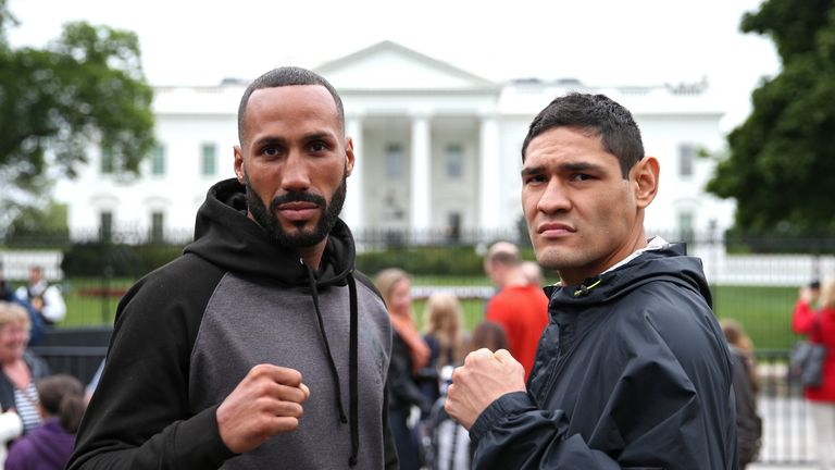 IBF Champion James DeGale (L) and Rogelio Medina pose in front of the White House prior to their title fight