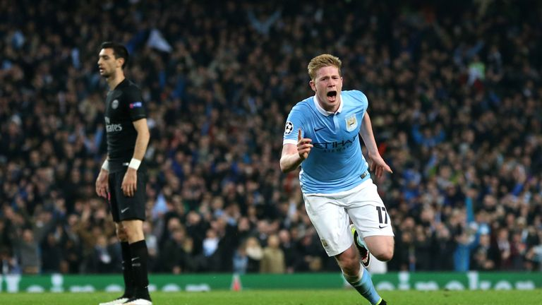 De Bruyne celebrates scoring in the quarter-final win over PSG earlier this month