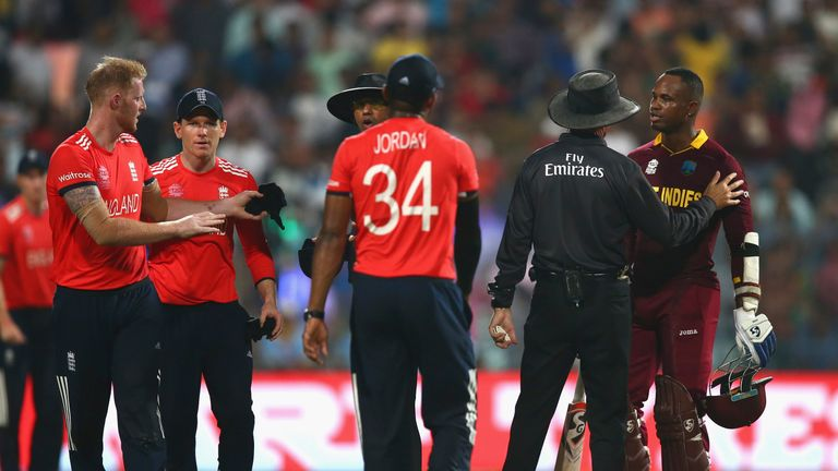 Samuels was spoken to by the umpires on the field before being fined