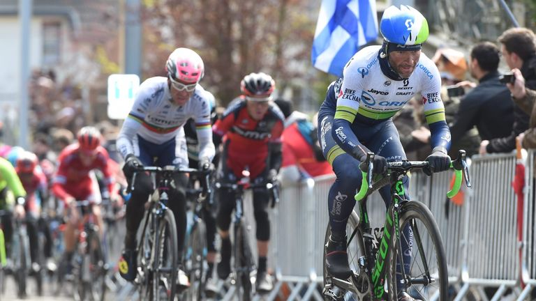 Michael Albasini created the leading group of four by accelerating on the final climb