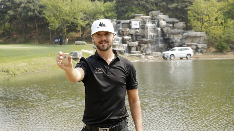 Rikard Karlberg won a new car for his hole in one at the 16th