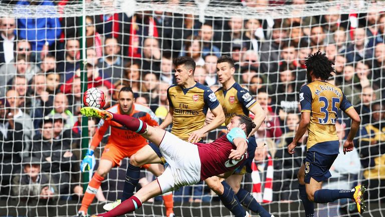 Andy Carroll scored a hat-trick against Arsenal at Upton Park
