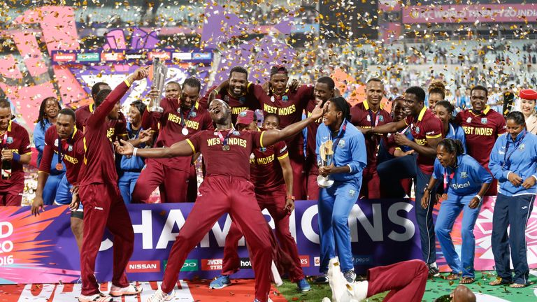 West Indies men's and women's players celebrate after their respective wins in the finals of the ICC World Twenty20 2016