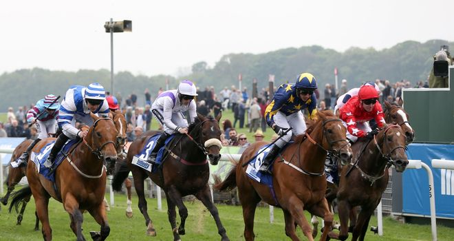 See The Sun (second right), ridden by James Sullivan, wins at York
