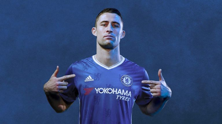 Gary Cahill parades the new home kit (image c/o Chelsea FC)