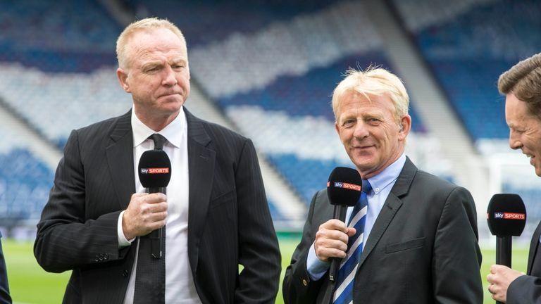 Gordon Strachan (right) a studio guest at Celtic Park on Saturday
