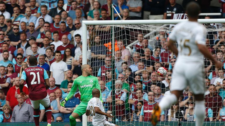 Ayew (centre) scored in Swansea's 4-1 victory over West Ham in May
