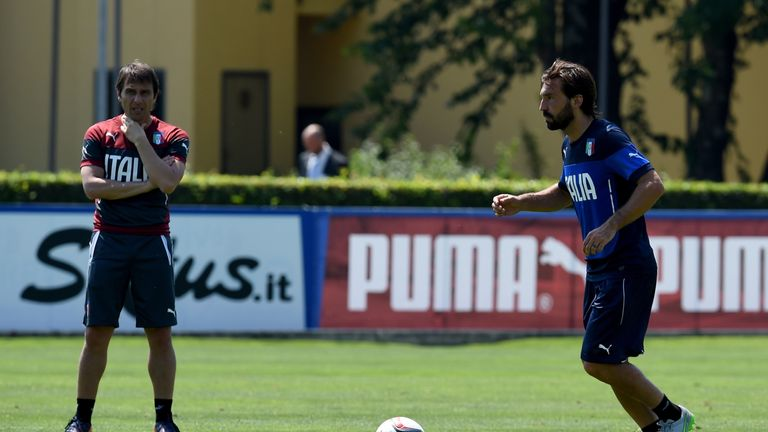 Antonio Conte (left) decided to leave Andrea Pirlo out of his Italy squad for Euro 2016