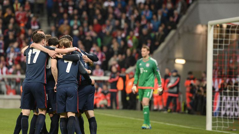 Atletico Madrid's players celebrate during their Champions League semi-final win over Bayern Munich