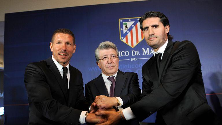 Simeone with Atletico president Enrique Cerezo and sports manager Jose Luis Perez Caminero